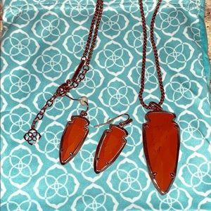 arrowhead burnt orange necklace & earrings